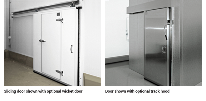 Optional wicket door and door with a track hood
